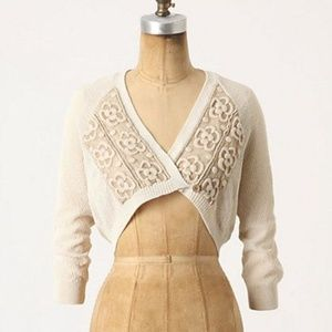 Anthropologie Blanched Blossoms Cardigan